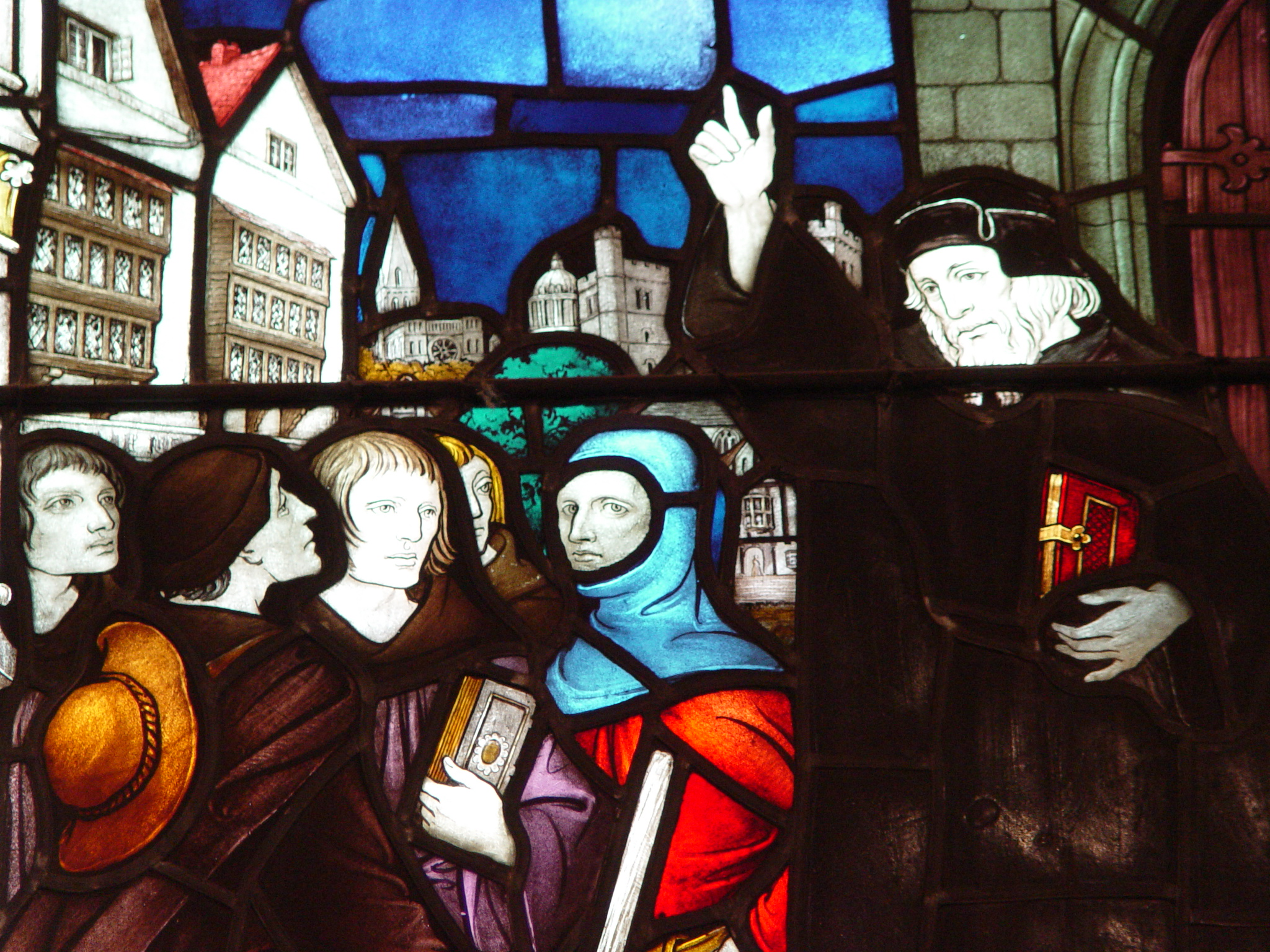 Stain glass depicting John Wycliffe sending forth preachers