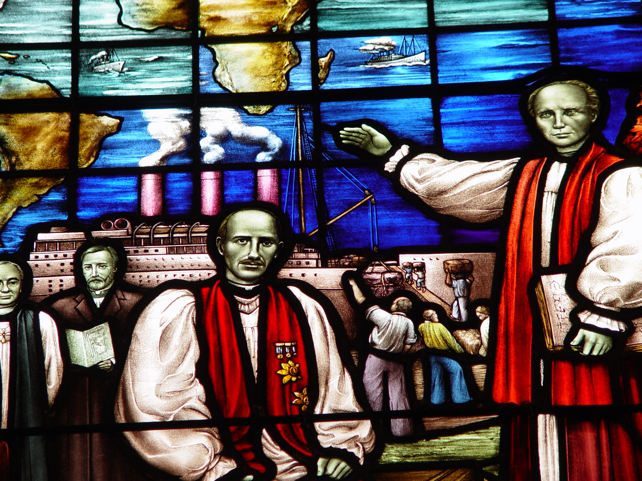 Stain glass depicting missionary to the Araucanian People in Chile 1895-1919