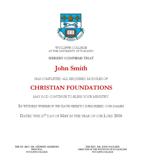 Christian Foundations Certificate