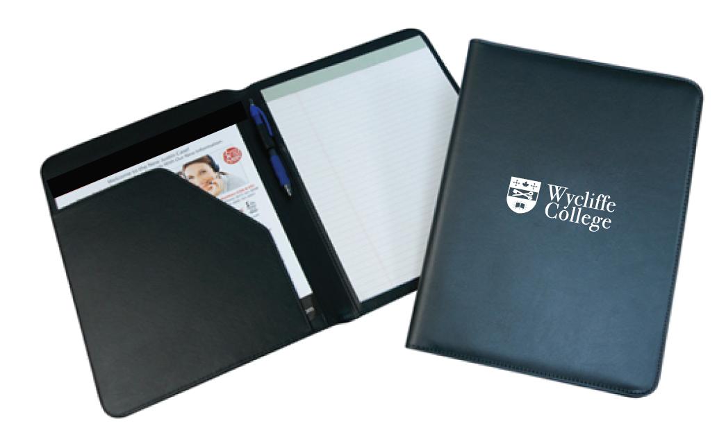 Wycliffe College Logo Padfolio - Black