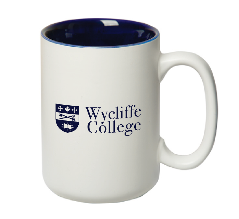 White and Blue Wycliffe College Mug