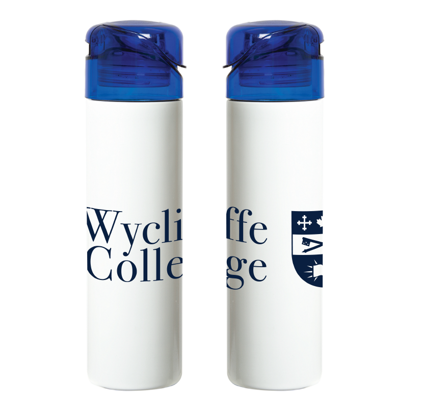 White and Blue Wycliffe College Water Bottle