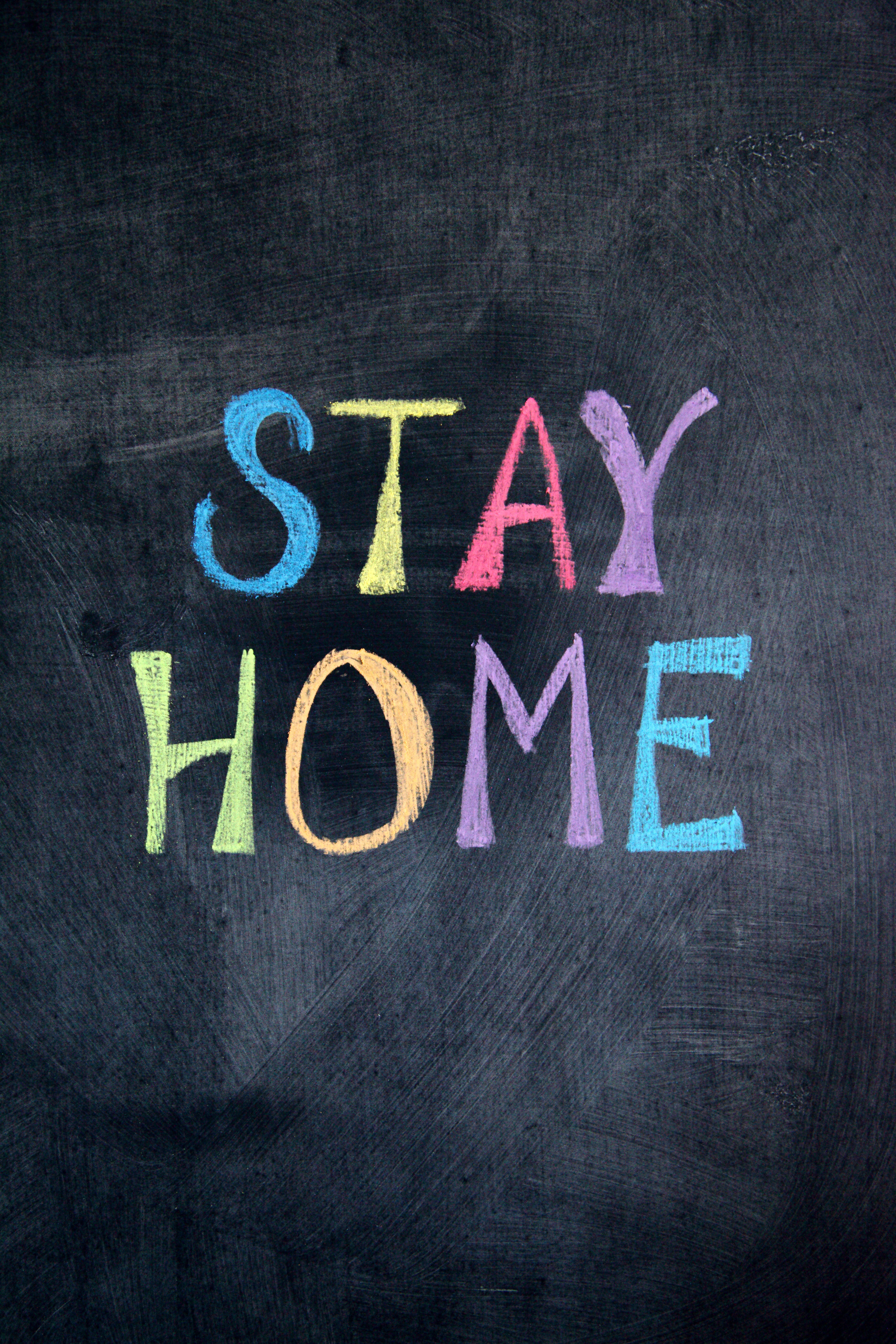 Stay Home chalk drawing