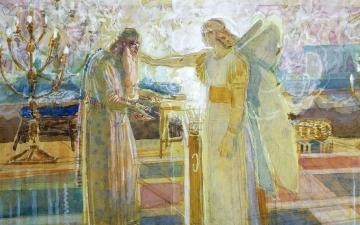 Archangel Gabrielf struck dumb Zachariah, painting by  Alexander Andreyevich Ivanov, 1824