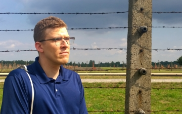 The Rev. David Clark, pictured in June 2017 at the site of the Auschwitz II (Birkenau) concentration camp