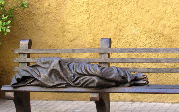 Sculpture of Homeless Jesus by Timothy P. Schmalz