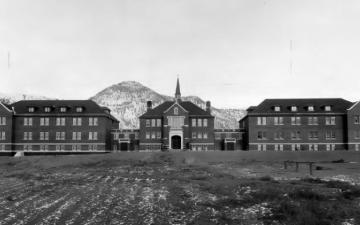 External view of Kamloops Indian Residential School taken at a distance. (1930) Source: Archives Deschâtelets-NDC, Richelieu