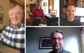 Wycliffe College Professors at home - Glen Taylor, Peter Robinson, Ephraim Radner, and Marion Taylor