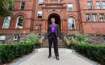 Wycliffe principal Stephen Andrews in front of Wycliffe College