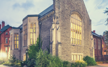 View of the Leonard Hall building from Tower Road