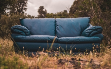 Leather couch out doors photo by Mitchell Gaiser, Unsplash