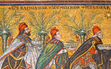 Three Wise Men from the East. Part of the mosaic on the left wall of the Basilica of Sant'Apollinare-Nuovo. Ravenna, Italy