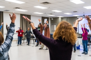 Group exercise in a workshop