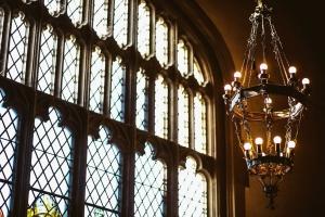 Chandelier by the window in Leonard Hall