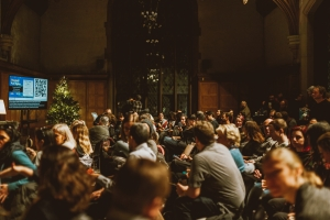 The listening crowd