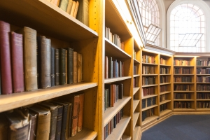 Book shelves in Cody Library