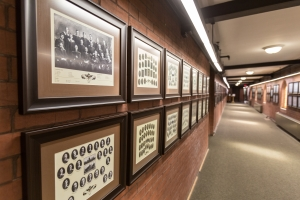 Hallway to the Chapel - Graduate photos on the wall